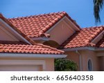 Florida home with spanish tiled roof - stock photo