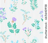 hand drawn floral pattern.... | Shutterstock .eps vector #665640958