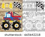 monster truck  vector cartoon... | Shutterstock .eps vector #665642218