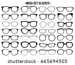 mega set of glasses. vector... | Shutterstock .eps vector #665694505