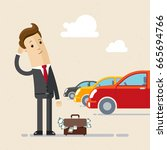 business man choice car and... | Shutterstock .eps vector #665694766