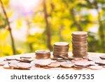 saving money concept coin stack ... | Shutterstock . vector #665697535
