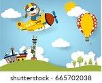 funny pilot summer vacation... | Shutterstock .eps vector #665702038
