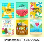 set of summer holidays and... | Shutterstock .eps vector #665709022
