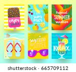 set of summer holidays and... | Shutterstock .eps vector #665709112