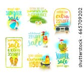 set of season sale designs.... | Shutterstock .eps vector #665709202