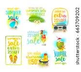 set of season sale designs.... | Shutterstock .eps vector #665709202