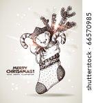 Hand Drawn Christmas Sock With...