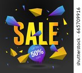 sale 50  off poster with... | Shutterstock .eps vector #665709916