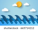 blue waves in ocean   paper art ... | Shutterstock .eps vector #665714212