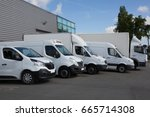 several cars vans and trucks... | Shutterstock . vector #665714308