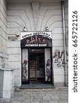 Small photo of POZNAN, POLAND - JUNE 08, 2017: Entrance to a fitness center in the city center