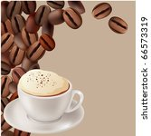 cup of hot cappuccino on beige... | Shutterstock .eps vector #66573319