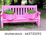 Bench Painted In Pink Color In...