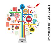 school. the icons set. vector... | Shutterstock .eps vector #665738215