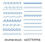 blue line wave ornament.... | Shutterstock .eps vector #665754946