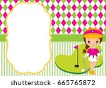vector card template with cute... | Shutterstock .eps vector #665765872