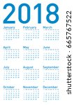 simple blue calendar for year... | Shutterstock .eps vector #665767522