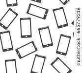 smartphone seamless pattern... | Shutterstock .eps vector #665779216