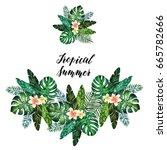 tropical summer. watercolor...   Shutterstock . vector #665782666