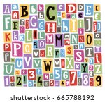 colorful vector alphabet... | Shutterstock .eps vector #665788192