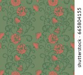 floral seamless pattern.... | Shutterstock .eps vector #665804155