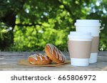 fresh hot coffee for fast food | Shutterstock . vector #665806972
