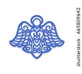 angel laser cutting. christmas... | Shutterstock .eps vector #665809642