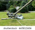 broken snapped wooden power...   Shutterstock . vector #665812606