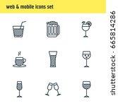 vector illustration of 9 drinks ... | Shutterstock .eps vector #665814286