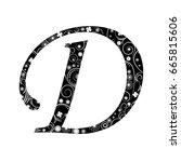 ornament letter d vector | Shutterstock .eps vector #665815606