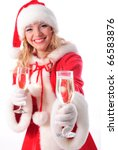 cheerful santa girl with glasses of champagne. Selective focus. Christmas greetings card - stock photo
