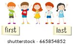 opposite wordcard for first and ... | Shutterstock .eps vector #665854852