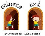 opposite wordcard for entrance... | Shutterstock .eps vector #665854855