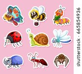 sticker designs for different... | Shutterstock .eps vector #665854936