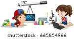 two girls and different school... | Shutterstock .eps vector #665854966
