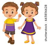 cute boy and girl in yellow and ... | Shutterstock .eps vector #665856628