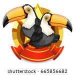 banner design with two toucan... | Shutterstock .eps vector #665856682