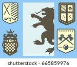 heraldic lion royal crest... | Shutterstock .eps vector #665859976