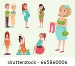 pregnancy motherhood people... | Shutterstock .eps vector #665860006