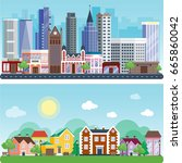 city outdoor day landscape... | Shutterstock .eps vector #665860042