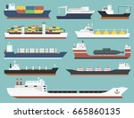cargo vessels and tankers...   Shutterstock .eps vector #665860135