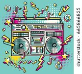 funky colorful drawn boom box | Shutterstock .eps vector #665866825