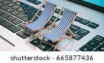 dreaming summer vacation. beach ... | Shutterstock . vector #665877436