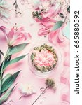 pink florist workspace with... | Shutterstock . vector #665880592