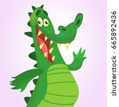 cool cartoon crocodile or... | Shutterstock .eps vector #665892436