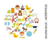 icons set kinder garten