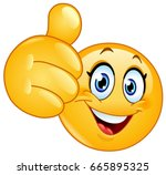female emoticon showing thumb up | Shutterstock .eps vector #665895325