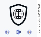 shield icon  stock vector... | Shutterstock .eps vector #665902462