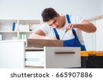 furniture repair and assembly... | Shutterstock . vector #665907886